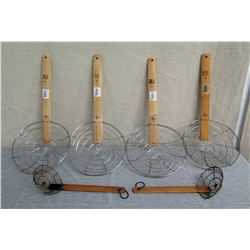 """Qty 6 Metal Spider Strainers w/ 10"""" Bamboo Handle - 2 Sizes"""