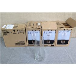 "Qty 4 Boxes Libbey Glass Cylinder Vases 1792137 (24 Total) 3.4"" Diameter x 10""H"