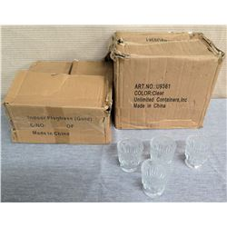 """Qty 2 Boxes (approx. 44) Etched Glasses (Votive Candle Holders?), 3"""" Dia"""