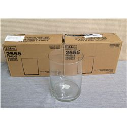 """Qty 2 Boxes Libbey Glass Wide Cylinder Vases 2555 (4 Total) 6"""" Diameter x 8""""H"""