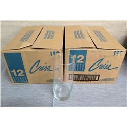 "Qty 2 Boxes Crisa Glass Cylinder Vases (24 Total) 7.5"" Diameter"