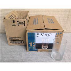 "Qty 16 Crisa Glass Cylinder Vases 3.5"" Dia, 6""H"