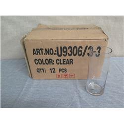 "Box Qty 12 Glass Cylinder Vases 10""H x 4"" Diameter UCIItem# U9306/3-3"