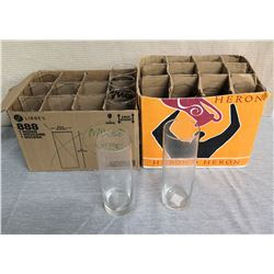 Qty 2 Boxes Libbey & Heron Glass Cylinder Vases Misc Size