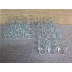 Qty 27 Misc Size Ribbed Glass Highball & Shot Glasses
