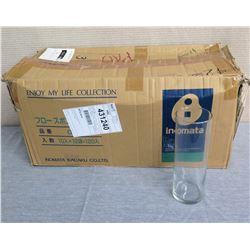 """Box 20+ Inomata Glass Cylinder Vases 3.5"""" Diameter x 10""""H"""