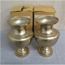 Qty 2 Metal Vases w/ Removable Base 7.5  Diameter x 14 H