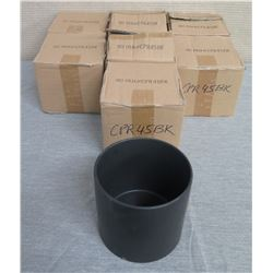 "Qty 7 Black Wide Cylinder Vases UCI Item #CPR45BK  6"" Diameter x 6""H"