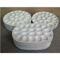 "Qty Approx. 20 Round & Oval White Egg Platter Plates 13"" Diameter/14""x9"""