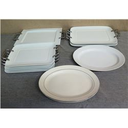 "Qty 6 Square 16"" White Serving Dishes w/ Metal Handles & 2 14"" Round Platters"