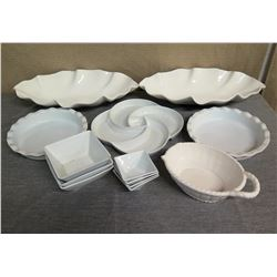 Qty 7 Square Condiment Dishes, 2 Round & 2 Oval Serving Dishes & Gravy Boat