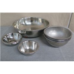"""Qty Approx. 14 Steel Mixing Dishes Misc Sizes 8"""" - 18"""" Diameter"""