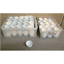 "Qty 2 Plastic Bins White Chinese Tea Cups (Approx. 80 Total) 3"" Diameter"
