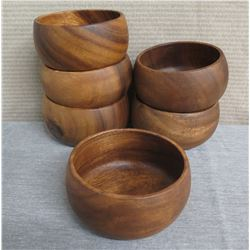 "Qty 6 Wooden Calabash Bowls  5"" Diameter x 3""H"