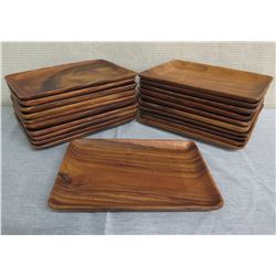 "Qty 21 Wooden Serving Trays  9.5""L x 12""W"
