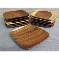 "Qty 13 Wooden Square Serving Trays  8.25""L x 8.25""W"