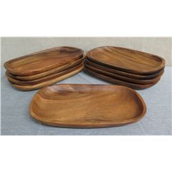 "Qty 9 Wooden Oval Serving Trays  16""L x 10""W x 1.5""H"