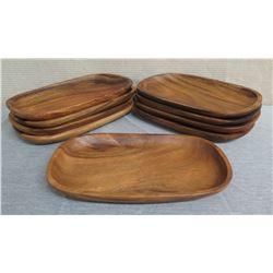 "Qty 9 Wooden Oval Serving Trays  16""L x 10""W x 1.5""H"