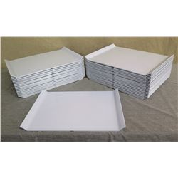 "Qty 33 White Plastic Serving Trays w/ Raised Edges 18""L x 13""W"