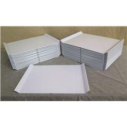 """Qty 33 White Plastic Serving Trays w/ Raised Edges 18""""L x 13""""W"""