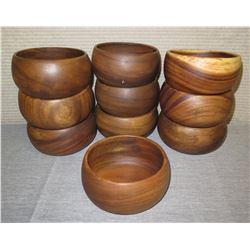"Qty 10 Wooden Calabash Bowls  5"" Diameter x 3""H"