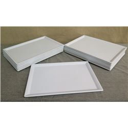 Qty 18 White Elite Melamine Serving Trays w/ Raised Edges 18 L x 13 W