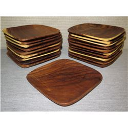 "Qty 13 Wooden Square Serving Trays  8""L x 10""W"