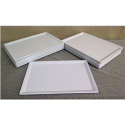 "Qty 18 White Elite Melamine Serving Trays w/ Raised Edges 18""L x 13""W"
