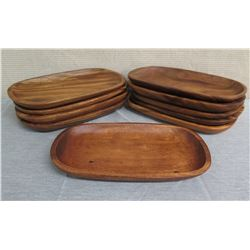 "Qty 10 Wooden Oval Serving Trays  16""L x 10""W"