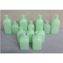 Qty 12 Hearth & Hand Small Green Milkglass Vases - Misc Sizes