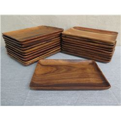 "Qty 20 Wooden Rectangle Serving Trays  12""L x 9""W"