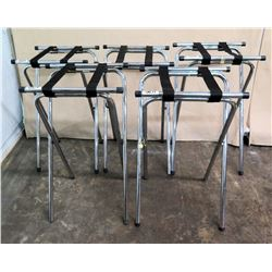 "Qty 5 Metal Tray Stands w/ Nylon Straps 15""W x 32""H"