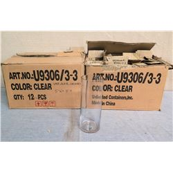 "Qty 2 Boxes Clear Cylinder Vases U9306/3-3  5""Wx10""H"