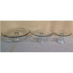 "Qty 3 Glass Cake Stands Size 12.5"" / 9"" / 7"" Diameter x 5""H"