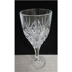 "Qty 25 Etched Glass Wine Goblets 3"" Diameter x 8""H in Plastic Rack"