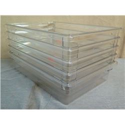 "Qty 5 Clear Food Serving Containers 24""L x 19""W x 6""H"