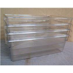 "Qty 4 Cambro 13 Gallon Clear Food Storage Boxes 18269CW  18""L x 26""W x 9""H"