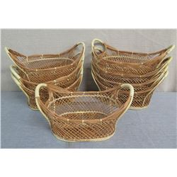 "Qty 8 Woven Oval Open Baskets w/ Side Handles 17""L x 10""W x 9""H"