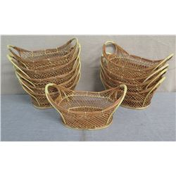 "Qty 10 Woven Oval Open Baskets w/ Side Handles 16""L x 9""W x 8""H"