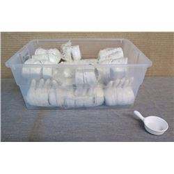 "Qty Approx. 128 Miyako Condiment Dishes w/ Handles in Plastic Bin 2.5"" Dia x 4""L"