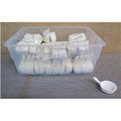 """Qty Approx. 128 Miyako Condiment Dishes w/ Handles in Plastic Bin 2.5"""" Dia x 4""""L"""