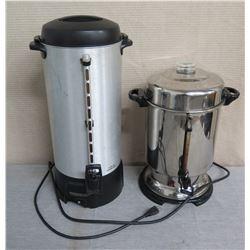 "Proctor Silex Commercial Coffee Server 23""H & Metal Percolator 17""H"