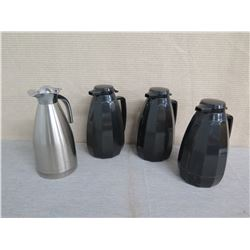 Qty 3 Black & 1 Metal Coffee Carafe Dispensers w/ Lids