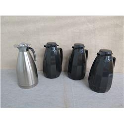 Qty 3 Black & 1 Metal Coffee Carafe Dispensers w/ Lids