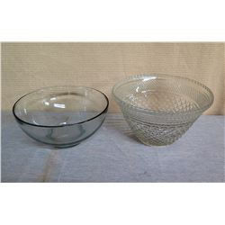"Qty 2 Large Glass Serving Bowls - 1 Etched 13"" Diameter x 8""H"