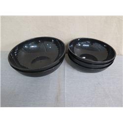 """Qty 5 Black Round Plastic Mixing Bowls 15"""" & 18"""" Diameter x 5""""H"""