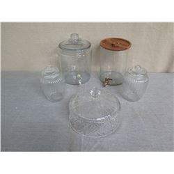 Qty 2 Glass Beverage Dispensers & 3 Candy Jars w/ Lids (1 Wood)