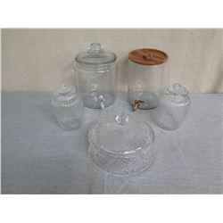 Qty 2 Glass Beverage Dispensers & 3 Candy Jars w/ Lids (1 Wood)