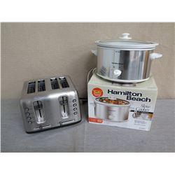 Hamilton Beach Slow Cooker 33140V & 4 Slice Toaster
