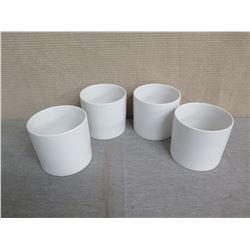 "Qty 4 White Cylinder Vases 6"" Diameter x 6""H"